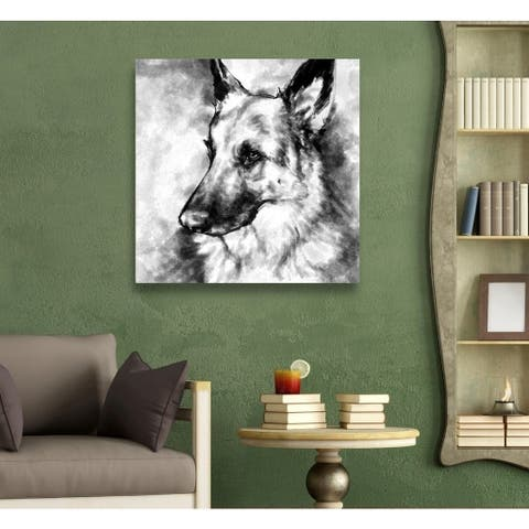 Oliver Gal 'German Shepherd' Gray Dogs and Puppies Gallery Wrapped Canvas Art