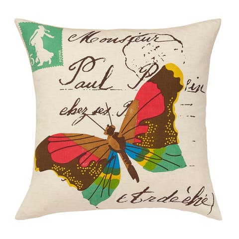 Cottage Home Yuma Butterfly Cotton 20 Inch Throw Pillow