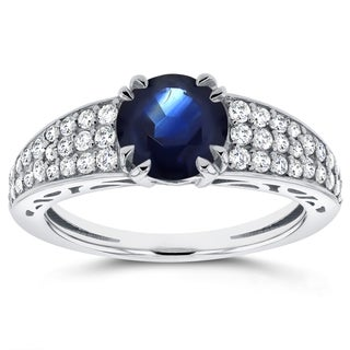 Annello By Kobelli 14k White Gold Sapphire And 2 5ct TDW Diamond Soft Edged Ring H I I1