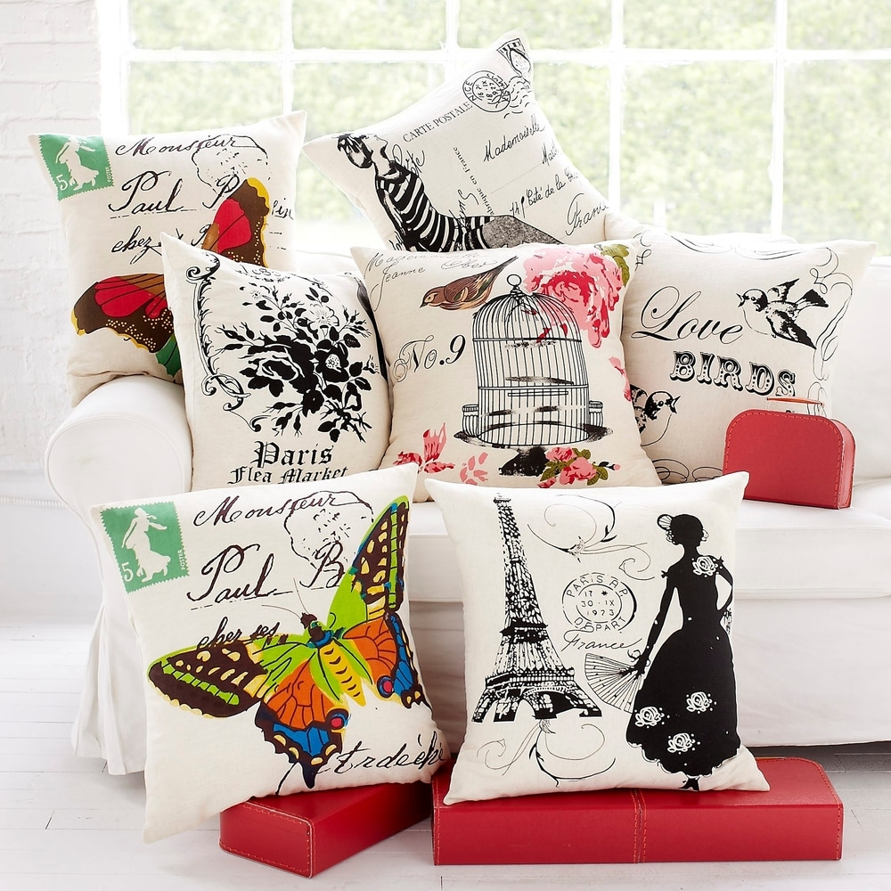 Shop Cottage Home Woodland Butterfly Cotton 20 Inch Throw Pillow - Overstock - 11455154