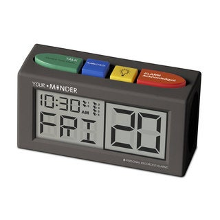 MedCenter Your Minder Talking Alarm Clock with Six Personal Recorded Reminders
