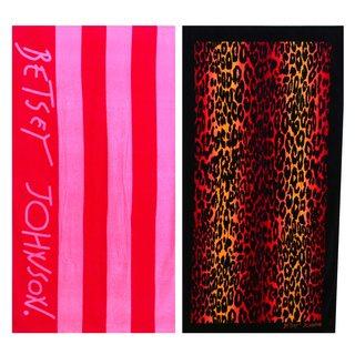Betsey Johnson Cabana Stripe and Leopard Stripe Beach Towel Set