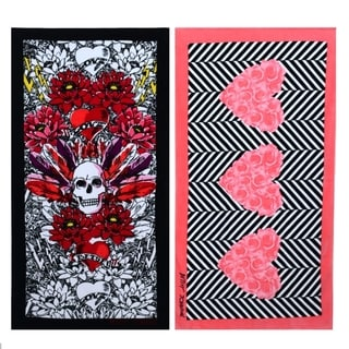 Betsey Johnson Rose Hearts and Tribal Skull Beach Towel Set