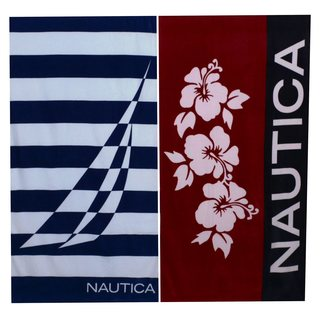 Nautica Hibiscus Red and J Class Border Beach Towel Set