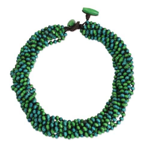 Handmade Littleleaf Boxwood Chao Phraya Belle Necklace (Thailand)