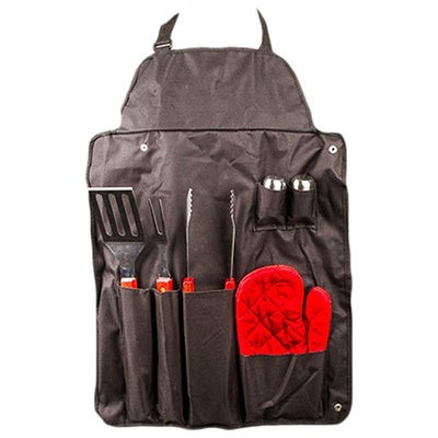 7 Pcs BBQ Apron Set with Barbecue Tools, Utensils and BBQ Accessories - Black