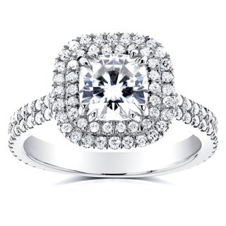 Annello by Kobelli 14k White Gold 1 7/8ct TGW Moissanite (HI) and Diamond Double Halo Cushion Two Row Shank Engagement Ring