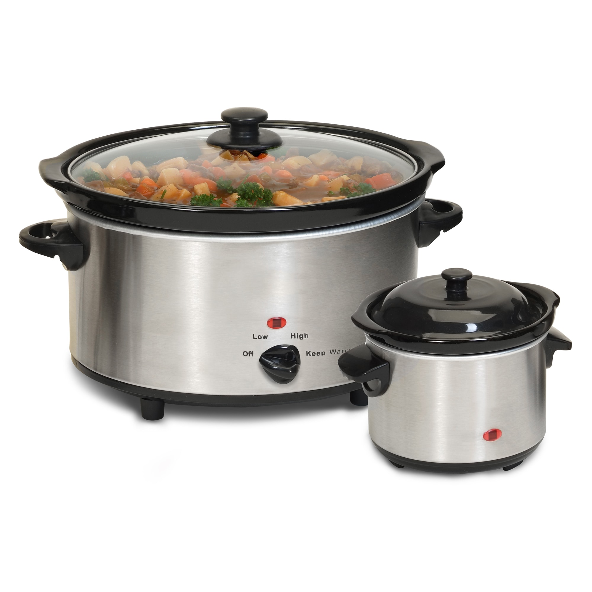 Stainless Steel 2-piece 5-quart Slow Cooker and Dipper Se...