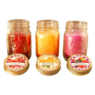 Scented Candles Jam and Jelly Collection in 12 oz. Glass Mason Jars (Set of 3)