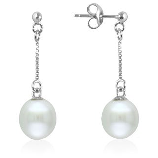 GIG Jewels Sterling Silver White Cultured Freshwater Pearl and Chain Dangle Earring (8-9 mm)