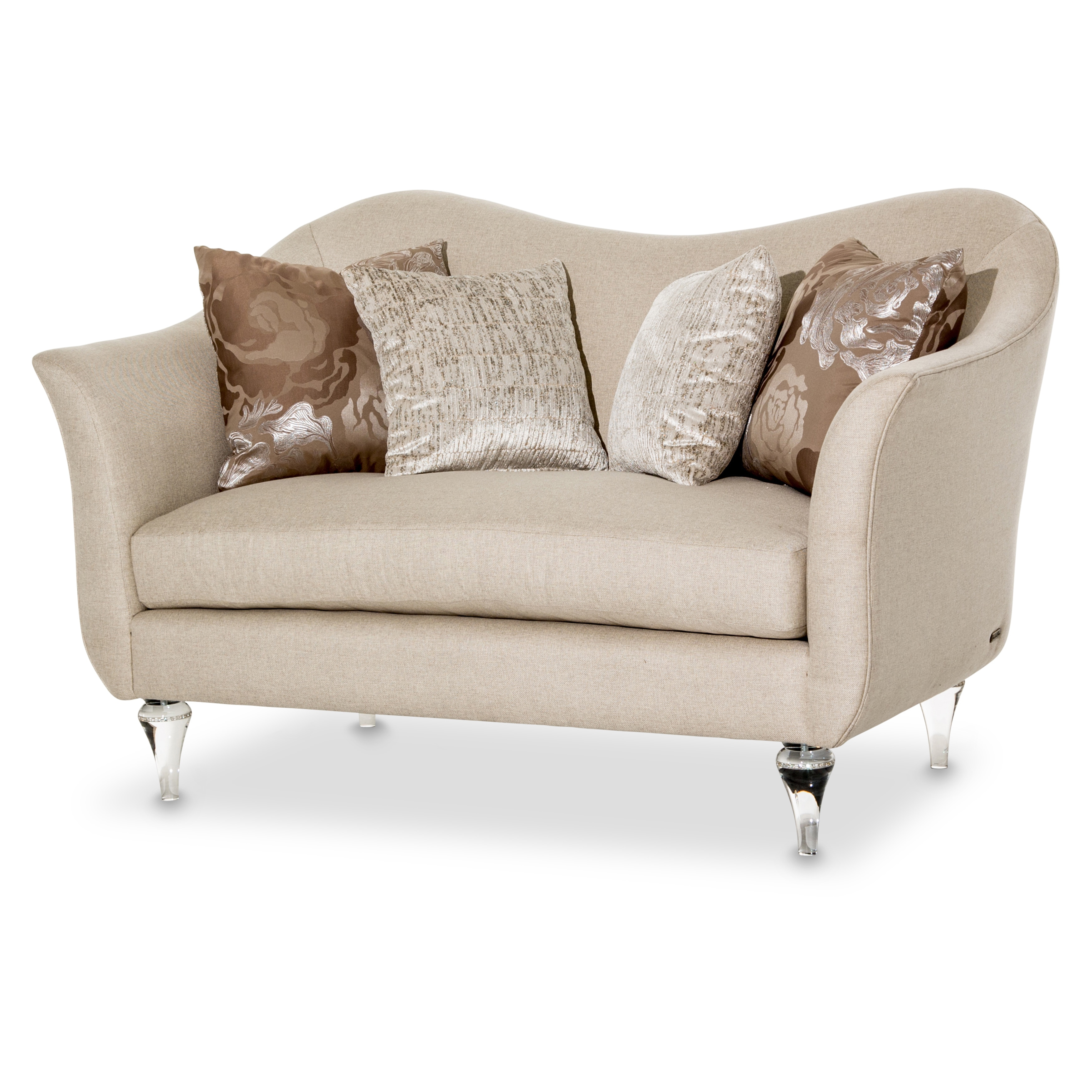 Rodeo Loveseat by Michael Amini (Platinum), Clear (Fabric)