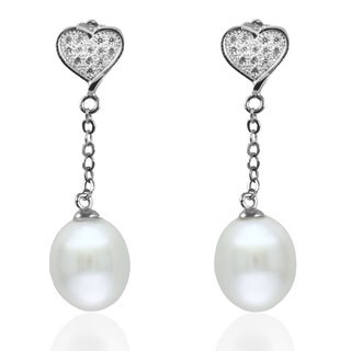 GIG Jewels Sterling Silver White Cultured Freshwater Pearl and Chain with Heart Dangle Earring (8-9 mm)