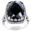 Handmade Sterling Silver Black Onyx Bali Cocktail Ring (Indonesia)