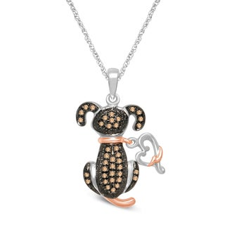 Unending Love Two-tone Sterling Silver 1/6ct TDW Diamond Dog Pendant (H-I, I1-I2)