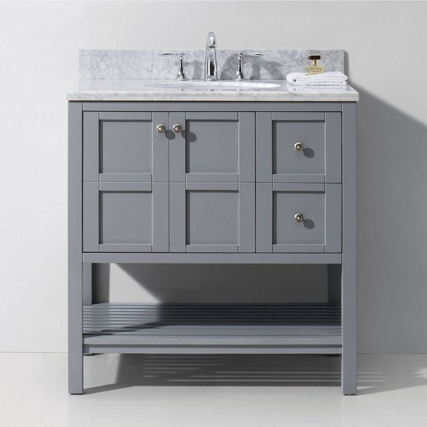 Virtu USA Winterfell 36 Inch Carrara White Marble Single Bathroom Vanity  Set Without Mirror