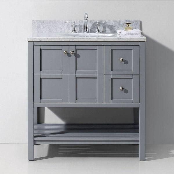 Winterfell 36 Inch Carrara Marble Single Bathroom Vanity Set No Mirror