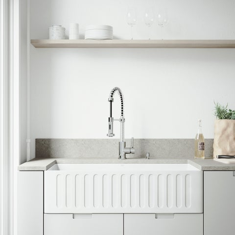 """VIGO All-In-One 36"""" Matte Stone Farmhouse Kitchen Sink Set With Edison Faucet In Chrome, Strainer And Soap Dispenser"""