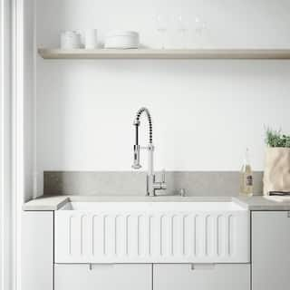 VIGO All-In-One 36 Matte Stone Farmhouse Kitchen Sink Set With Edison Faucet In Chrome|https://ak1.ostkcdn.com/images/products/11458447/P18416247.jpg?impolicy=medium