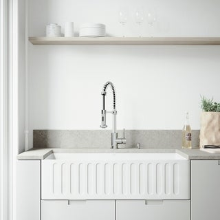 "VIGO All-In-One 36"" Matte Stone Farmhouse Kitchen Sink Set With Edison Faucet In Chrome, Strainer And Soap Dispenser"