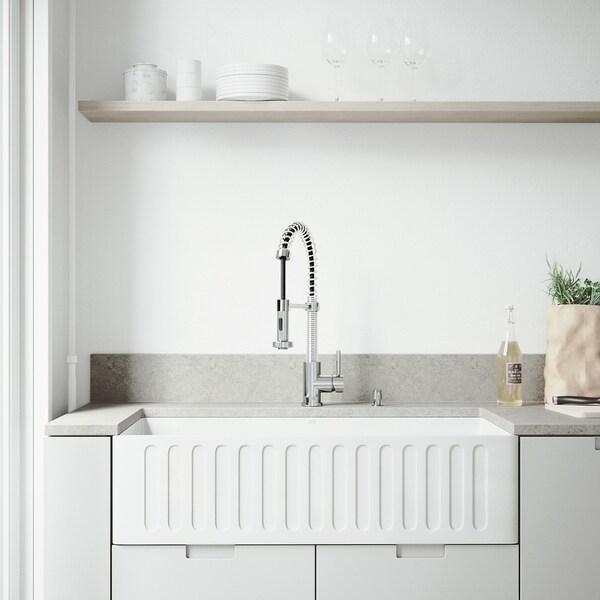 VIGO 36-inch Matte Stone Farmhouse Kitchen Sink and Edison Faucet Set