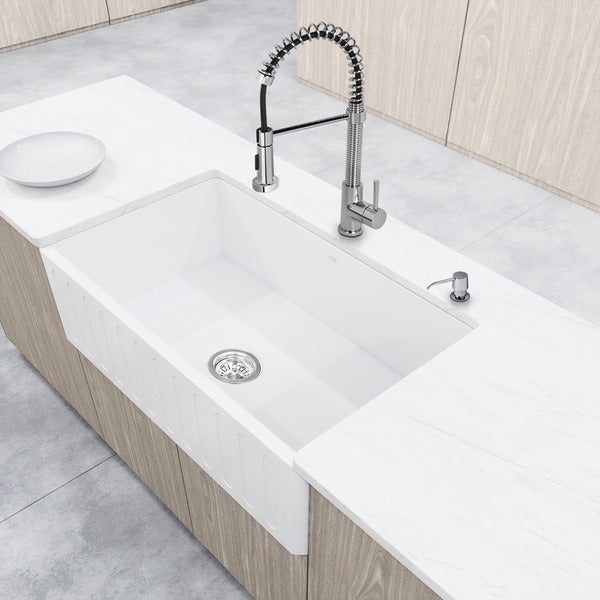 Captivating VIGO All In One 36u201d Matte Stone Farmhouse Kitchen Sink Set With Edison