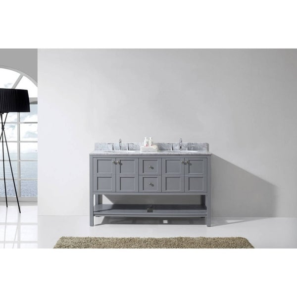 Virtu USA Winterfell 60-inch Square White Marble Double Bathroom Vanity Set with No Mirror