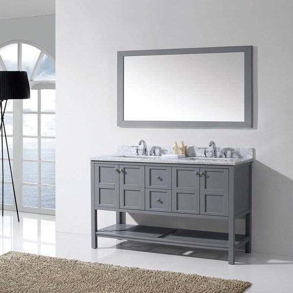 virtu usa winterfell 60 inch grey double bathroom vanity cabinet set