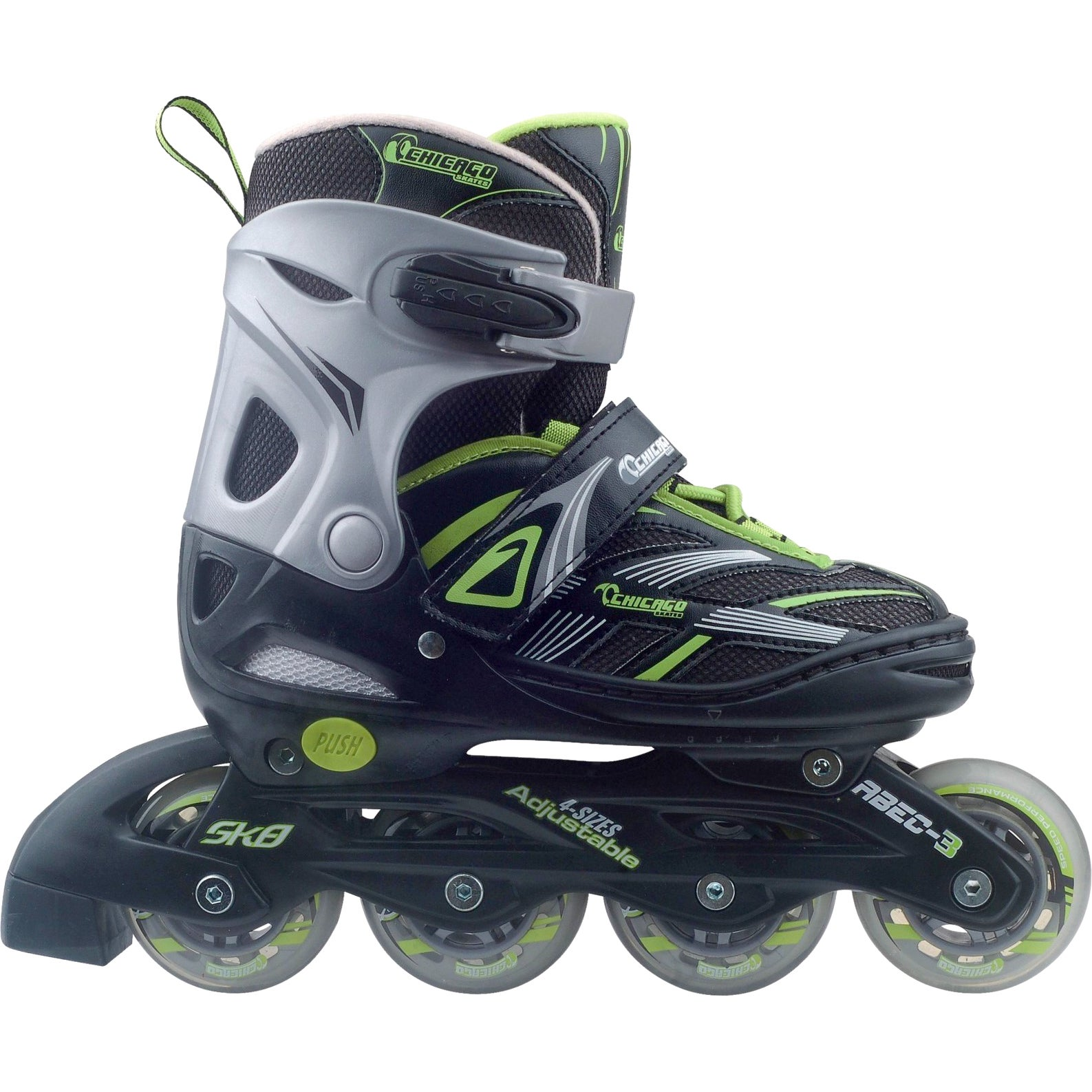 Chicago Blazer Boys Adjustable Inline Skates (Black/Green...