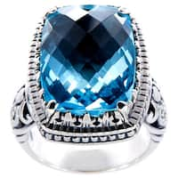 Handmade Sterling Silver Blue Topaz Bali Cocktail Ring (Indonesia)