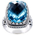 Handcrafted Sterling Silver Blue Topaz Bali Cocktail Ring (Indonesia)