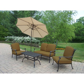 Sunbrella Aluminum 6-piece Chat Set with Cushioned Stackable Club Chairs, Loveseat, Cocktail table, Umbrella and Stand