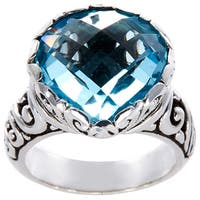 Handmade Sterling Silver Blue Topaz Teardrop Bali Ring (Indonesia) - LIGHT BLUE