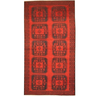 Herat Oriental Afghan Hand-knotted 1980's Semi-antique Tribal Balouchi Red/ Navy Wool Rug (3'6 x 6'5)