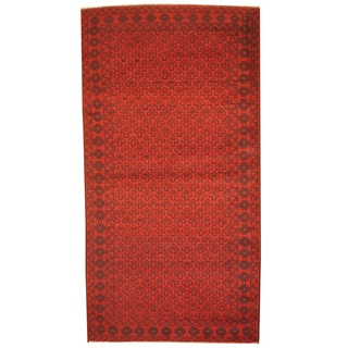 Herat Oriental Afghan Hand-knotted 1980's Semi-antique Tribal Balouchi Red/ Navy Wool Rug (3'6 x 6'8)