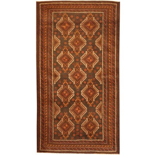 Herat Oriental Afghan Hand-knotted 1960's Semi-antique Tribal Balouchi Charcoal/ Rust Wool Rug (3'7 x 6'8)
