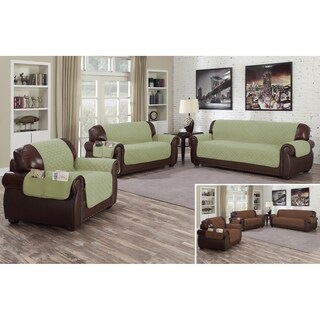 Quick Fit Liza Collection Reversible Waterproof Loveseat Cover With Pockets (3 options available)