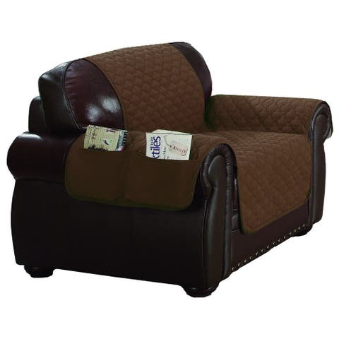 Quick Fit Liza Collection Quilted Reversible Waterproof Chair Protector With Pockets - 69x75""