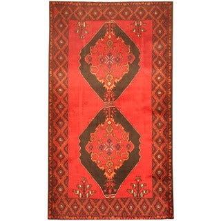 Herat Oriental Afghan Hand-knotted 1970's Semi-antique Tribal Balouchi Red/ Black Wool Rug (4' x 7')