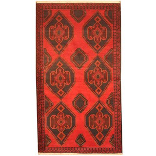 Herat Oriental Afghan Hand-knotted 1960's Semi-antique Tribal Balouchi Red/ Navy Wool Rug (3'7 x 6'6)