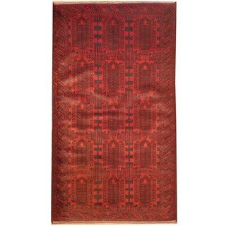 Herat Oriental Afghan Hand-knotted 1970's Semi-antique Tribal Balouchi Rust/ Navy Wool Rug (3'9 x 6'10)