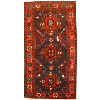 Herat Oriental Afghan Hand-knotted 1980's Semi-antique Tribal Balouchi Navy/ Red Wool Rug (3'8 x 6'9)