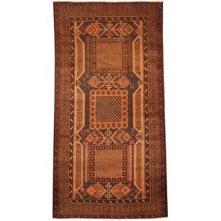 Herat Oriental Afghan Hand-knotted 1980's Semi-antique Tribal Balouchi Navy/ Brown Wool Rug (3'3 x 6'6)