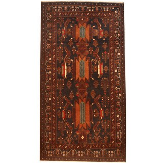 Herat Oriental Afghan Hand-knotted 1970's Semi-antique Tribal Balouchi Navy/ Ivory Wool Rug (3'6 x 6'7)