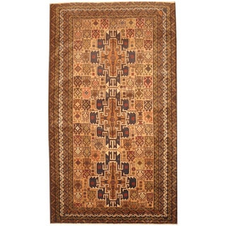 Herat Oriental Afghan Hand-knotted 1980's Semi-antique Tribal Balouchi Gold/ Navy Wool Rug (3'10 x 6'6)