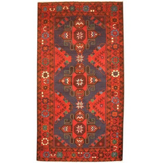 Herat Oriental Afghan Hand-knotted 1970's Semi-antique Tribal Balouchi Blue/ Red Wool Rug (3'8 x 6'6)