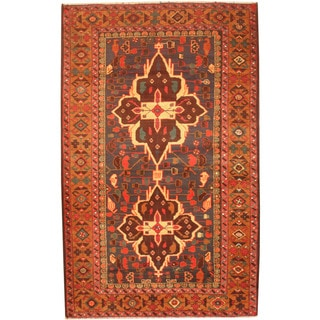 Herat Oriental Afghan Hand-knotted 1980's Semi-antique Tribal Balouchi Navy/ Gold Wool Rug (3'7 x 5'9)