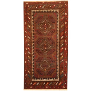 Herat Oriental Afghan Hand-knotted 1970's Semi-antique Tribal Balouchi Light Brown/ Red Wool Rug (3'4 x 6'10)
