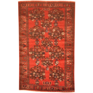 Herat Oriental Afghan Hand-knotted 1970's Semi-antique Tribal Balouchi Red/ Navy Wool Rug (4' x 6'8)
