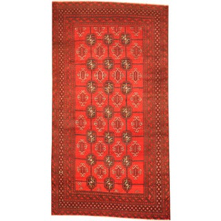 Herat Oriental Afghan Hand-knotted 1960's Semi-antique Tribal Balouchi Red/ Black Wool Rug (3'7 x 6'7)