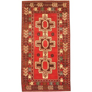 Herat Oriental Afghan Hand-knotted 1980's Semi-antique Tribal Balouchi Red/ Ivory Wool Rug (3'5 x 6'5)
